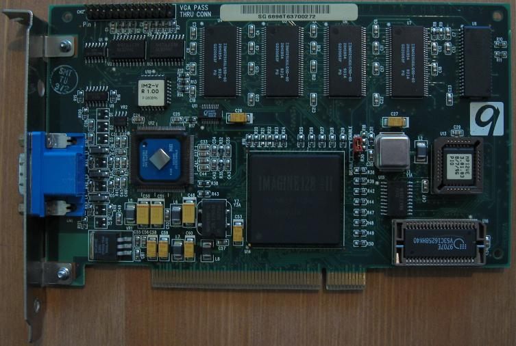 With flexible memory controller Imagine 128-II can use up to 8 MB VRAM and  32 MB DRAM for ultra high end. This regular card has EDO chips on the right  side ...