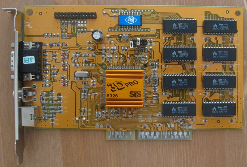 Elpina card using C3 chip featuring AGP 2x bus, and 4MB of EDORAM set to 56MHz.